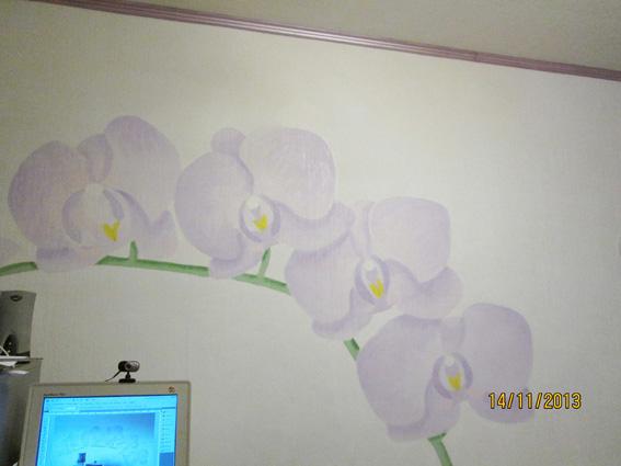 Орхидеи рисунок на стене